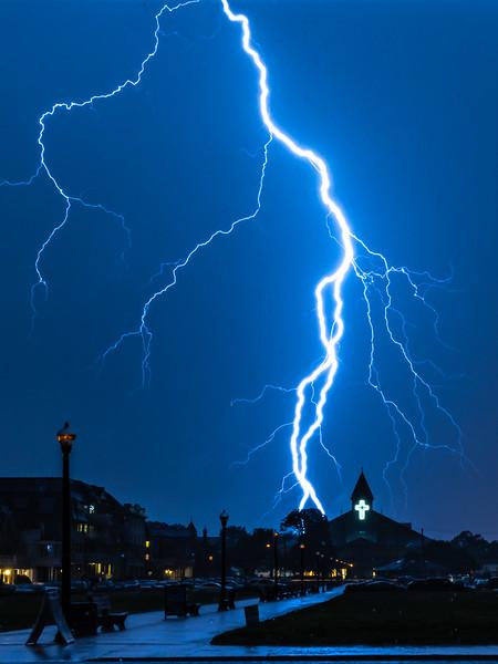 A Brilliant Lightning Strike Over The Great Auditorium In Ocean Grove 7/7/21