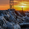 Fire & Ice.  Sunrise Over Ice-Covered Jetty at Shark River Inlet, Belmar, NJ