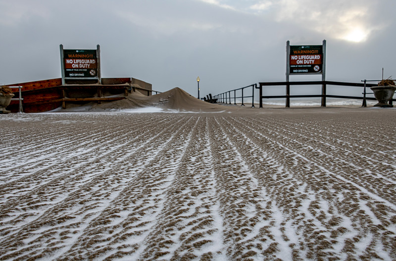 Snow & Sand On Ocean Grove Boardwalk 12/17/20
