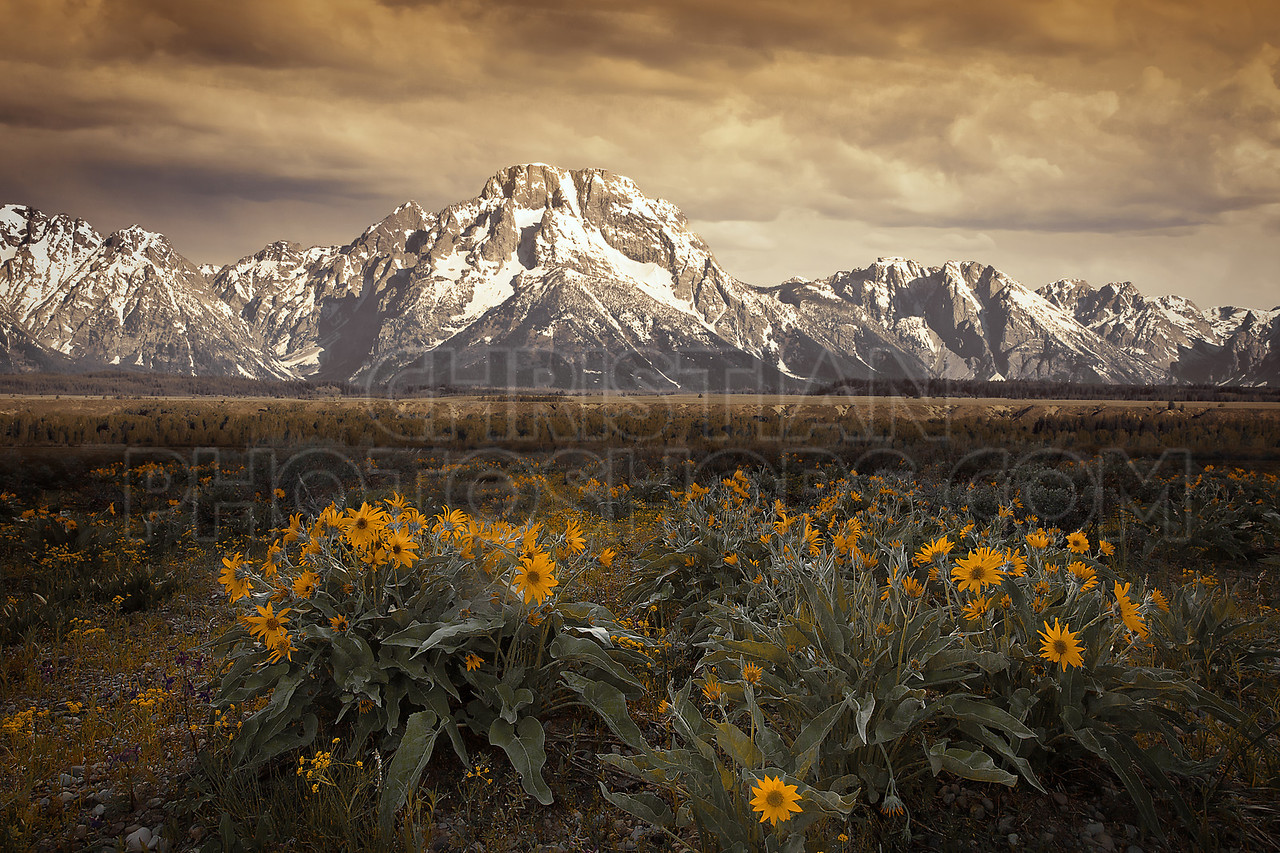Dusk at the Grand Tetons