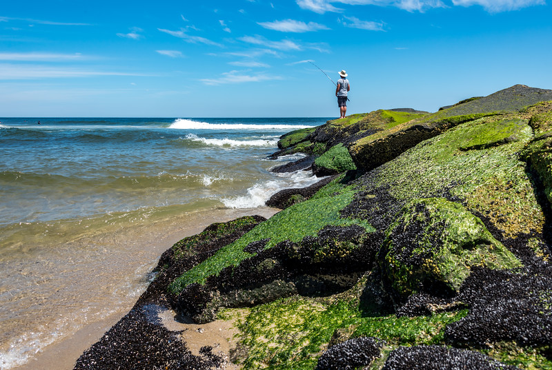 Fisherman on Algae Covered Jetty in Ocean Grove 7/8/17