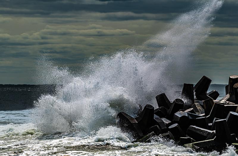 Rough Seas Crashing Against The Rock Jetty, Point Pleasant, NJ 9/15/20