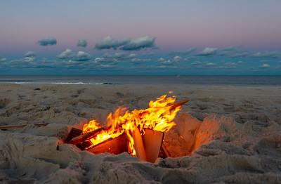 A Bonfire on the Beach at Dusk 10/13/18