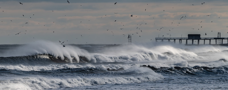 Panoramic Shot of Rough Seas and Strong Winds Over Belmar Pier 1/20/19