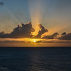 Sun Rays Breaking Through the Clouds at Sunset, Caribbean