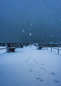 Snowy Scene at Ocean Grove Pier 3/13/18