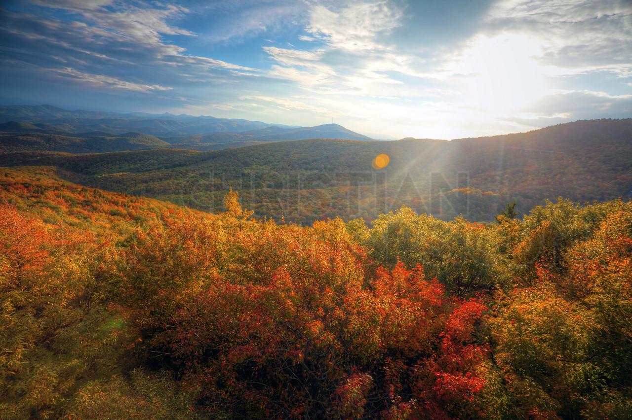 Sunset in the autumn mountains