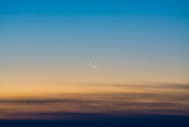 Waning Crescent Moon at Sunrise in Ocean Grove, NJ