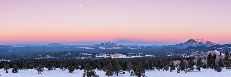 Setting moon, looking west from the Arizona Snowbowl, Flagstaff, AZ