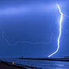 Lightning Strike Over Shark River Inlet and Belmar Pier 10/3/18