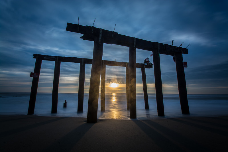 Sunrise Through Pier Remnants, Ocean Grove, NJ