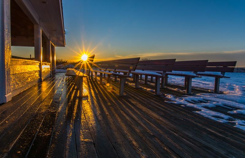 Sunrise over Benches in Ocean Grove, NJ