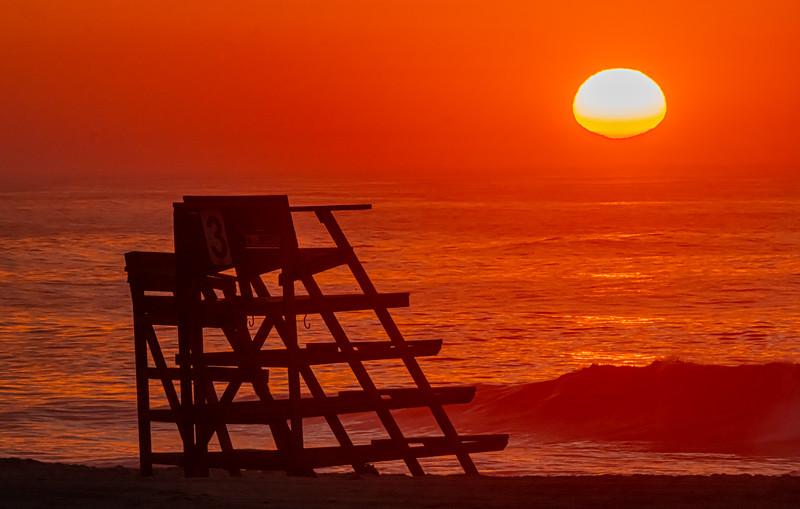 Sunrise Over A Lifeguard Stand On Ocean Grove Beach 6/28/20