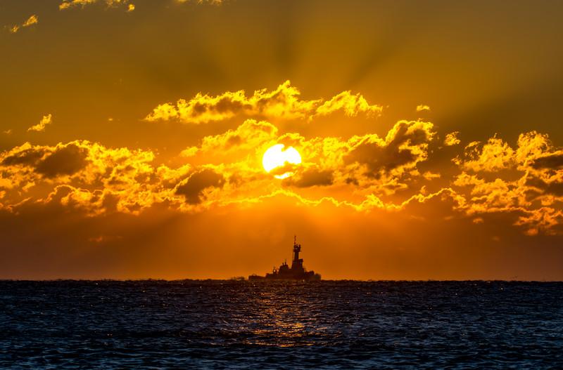 Sunrise over Tugboat, Ocean Grove, NJ
