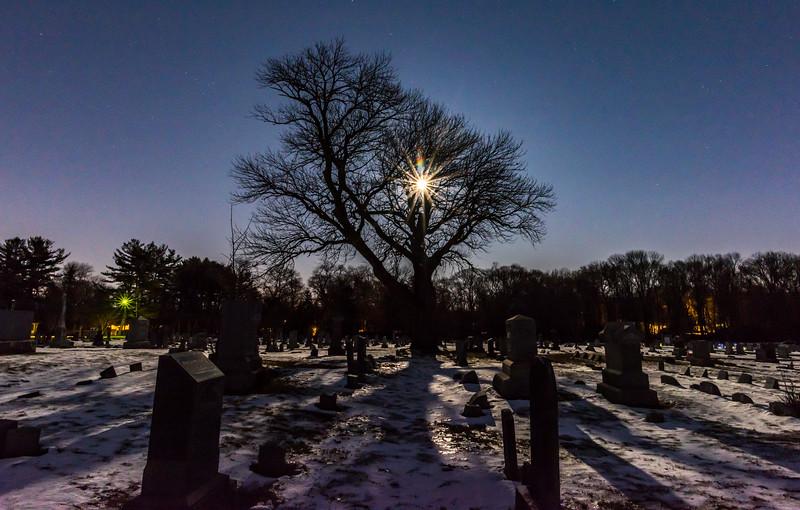 Full Moon Rising Over Cemetery 3/12/17