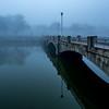 Foggy Morning Over Wesley Lake and Bridge, Ocean Grove, NJ