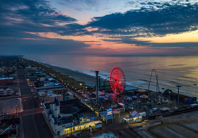 An Aerial View Of Predawn Over The Seaside Heights Boardwalk 8/19/20
