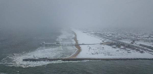 Snowy Scene Over Belmar Beach 3/13/18