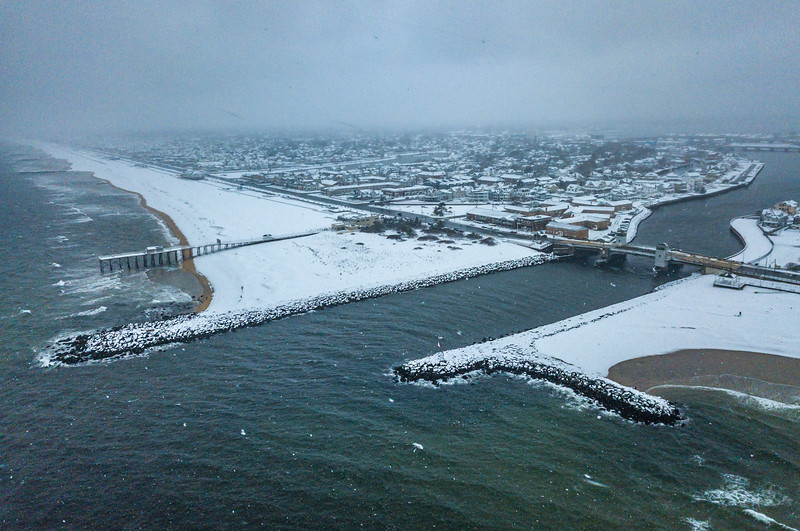 Snow Over Belmar and Shark River Inlet 2/20/19