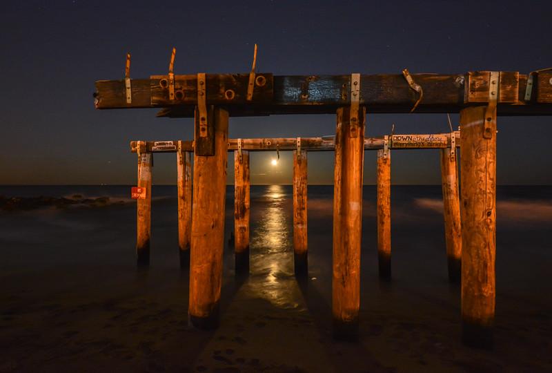 Full Moon Rising Over Pier Remnants, Ocean Grove, NJ