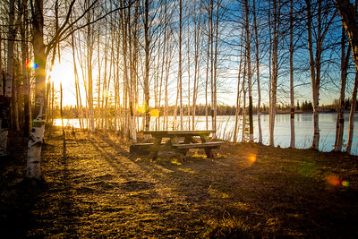Joshua D Weiss Fine Art Photography of picnic bench on Chena Lake in North Pole Alaska