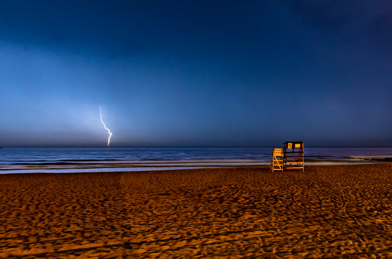 A Lightning Strike Over The Ocean & LIfeguard Stand On Ocean Grove Beach 6/4/20