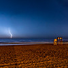 A Lightning Strike Over The Ocean & LIfeguard Stand On Ocean Grove Beach 6/4/20