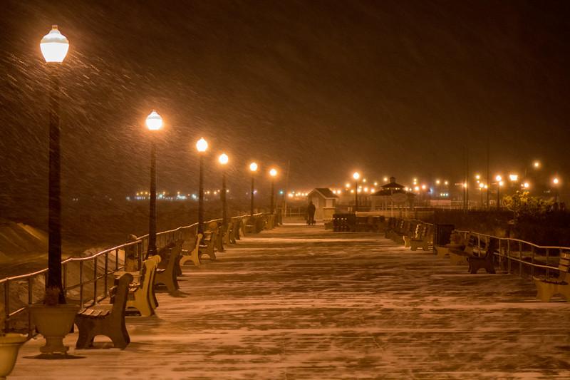 Snowstorm Begins on boardwalk, Ocean Grove, NJ
