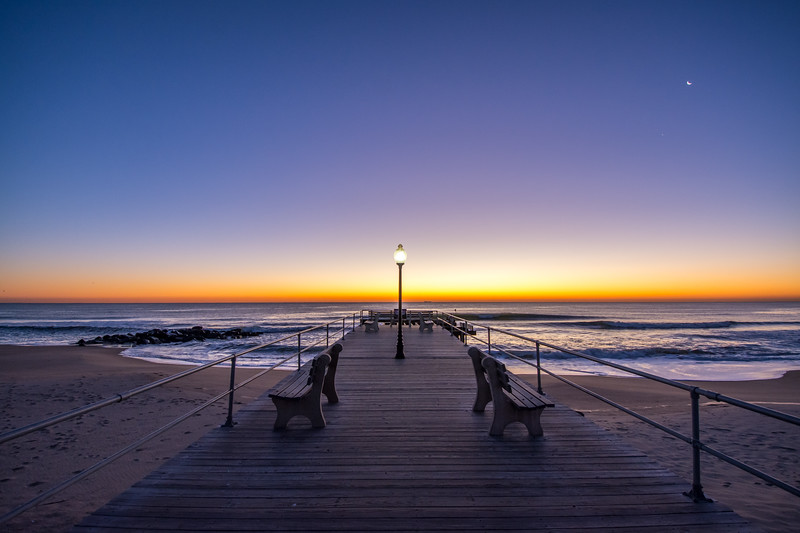 Pre-Dawn Pier with Crescent Moon, Ocean Grove, NJ