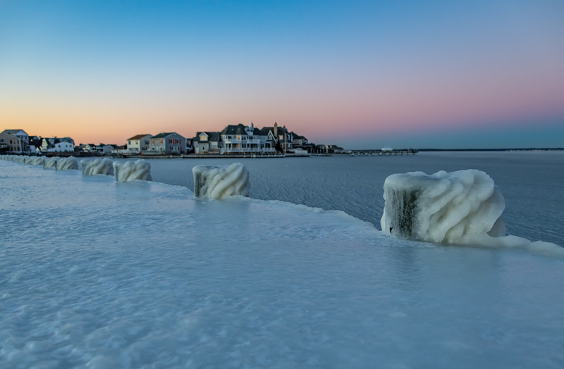 Predawn Colors Over Ice-Covered Pier in Brick 1/22/19