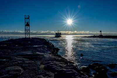 Frigid Sunrise with Sea Smoke at Shark River Inlet 1/7/18
