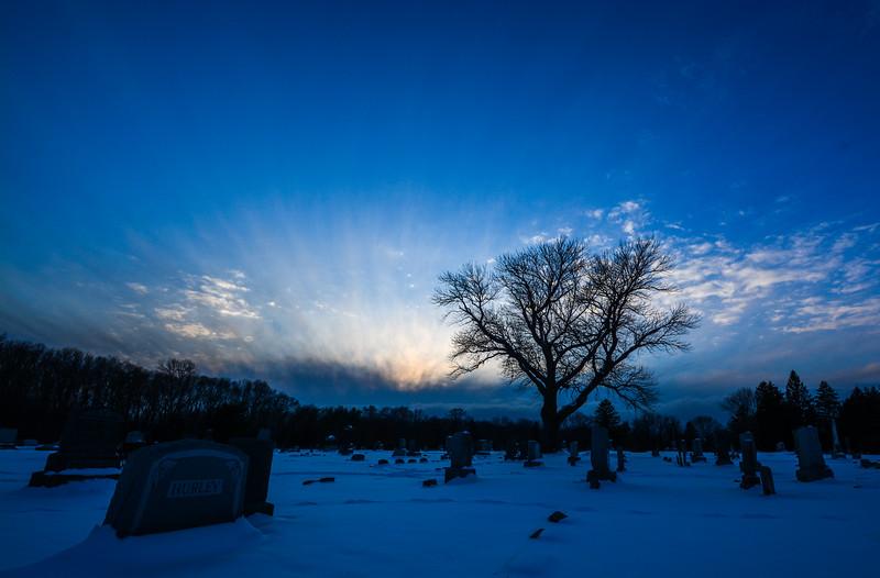 Sunset Over Evergreen Cemetery, Farmingdale, NJ