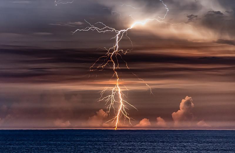 A Brilliant Lightning Strike Over The Ocean 7/29/20