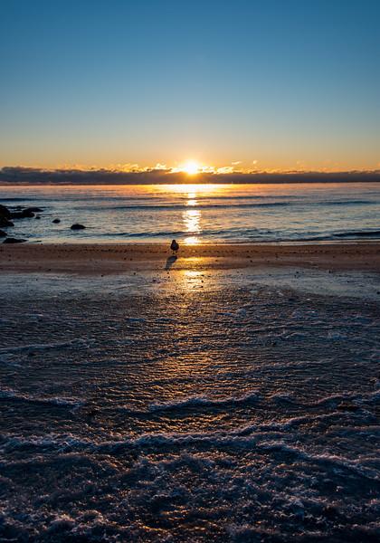 Frigid Sunrise with Sea Smoke at Ocean Grove Beach 1/7/18