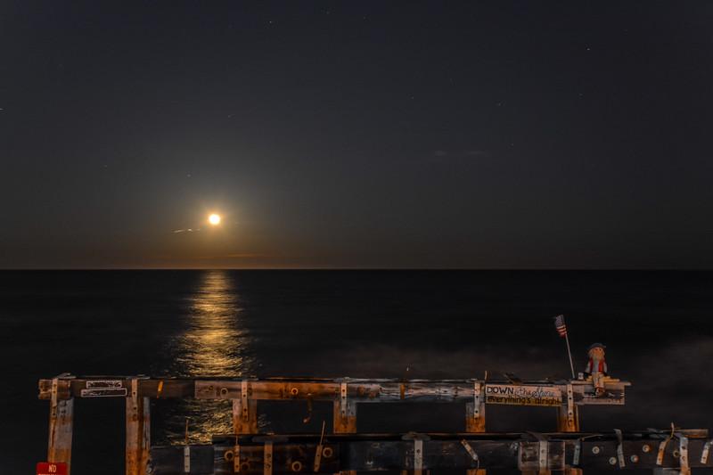 Full Moon Rising Over Pier, Ocean Grove, NJ