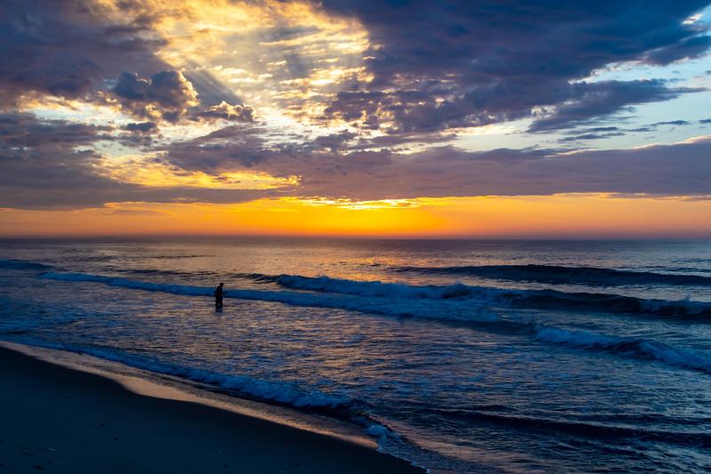 Sunrise Over A Fisherman On Ocean Grove Beach 6/28/20