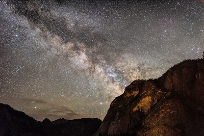 Looking up at Glacier Point and the Milky Way.