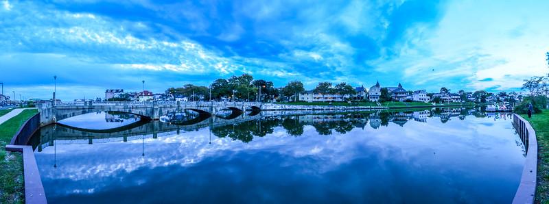 Cloudy Reflection and Bridge on Wesley Lake, Ocean Grove, NJ