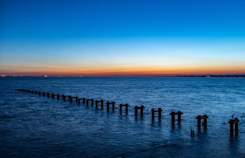 Predawn Colors Over Remnant Pier Poles In Raritan Bay, NJ 9/29/19