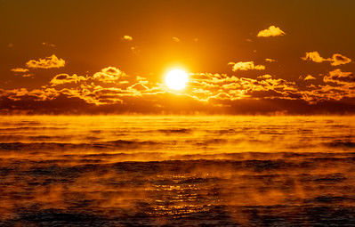 Sea Smoke on Ocean at Sunrise 11/23/18