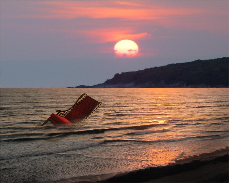 A chair adrift