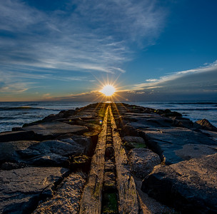 Sunrise Aligning With Rock Jetty in Asbury Park 10/16/18