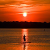 Paddleboarder at Sunset on Shark River, Belmar, NJ