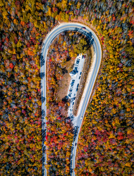 An Aerial Shot Of Autumn Foliage Along The Kancamagus Highway In The White Mountains, NH 10/5/20