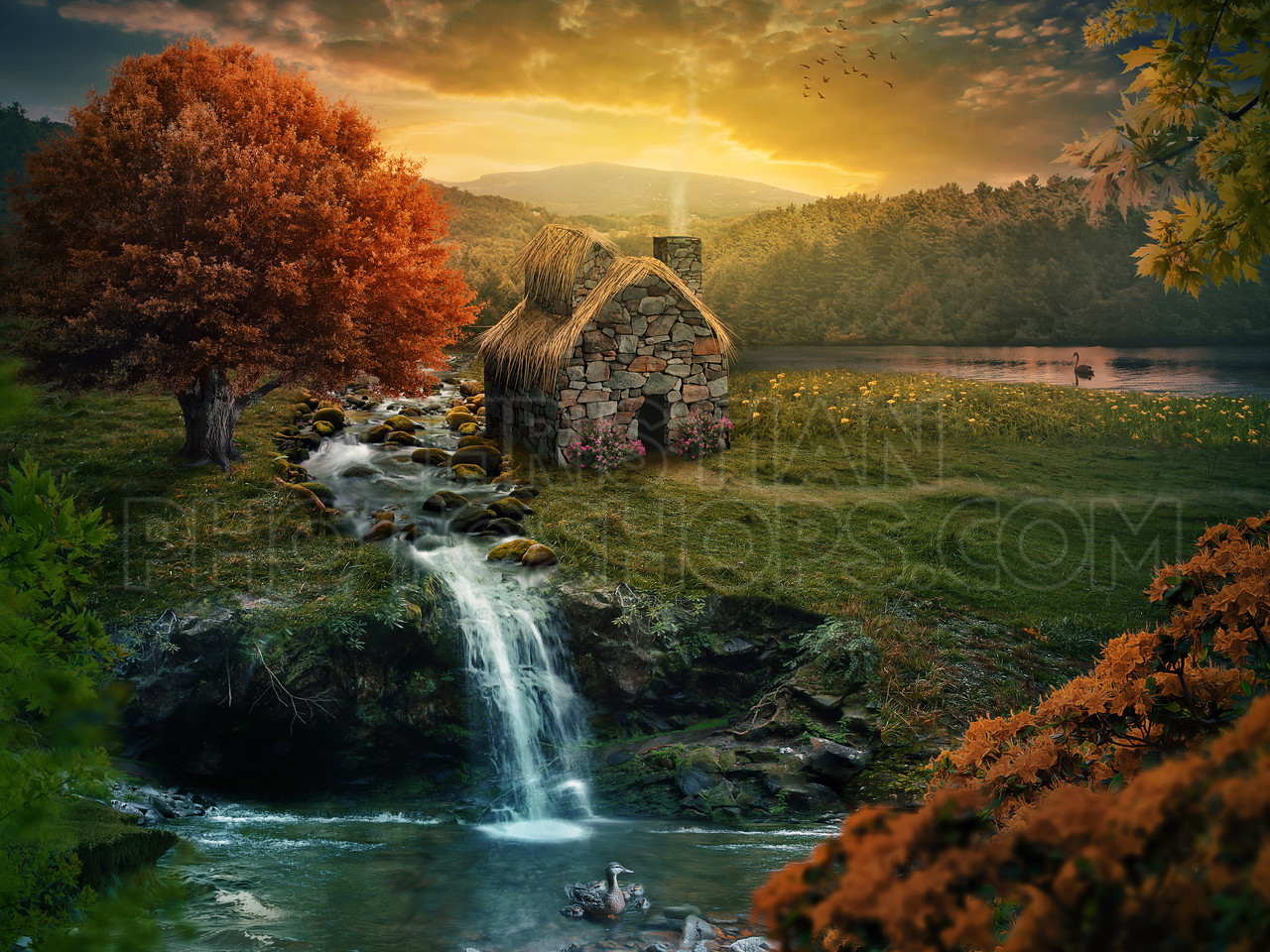 Peaceful cottage; 80cm x 60cm at 300dpi