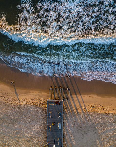 An Aerial View Of Ocean Waves Over Ocean Grove Pier 9/4/21