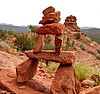 Stacked Red Rocks on Mountain Slope
