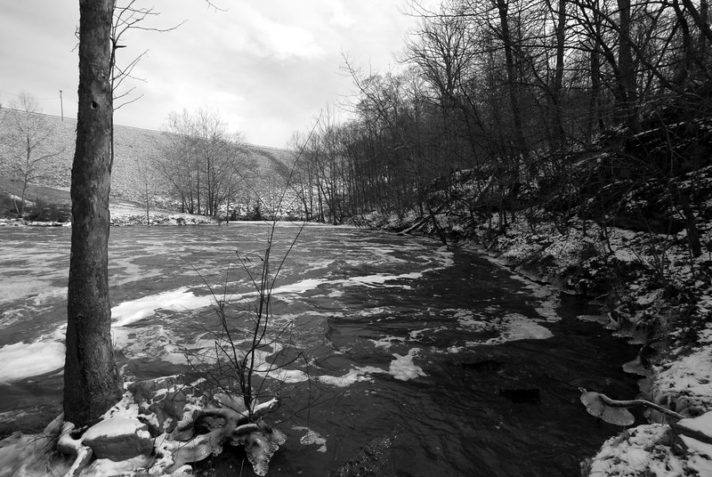 Shot on February 4, 2007 at the outlet of the dam, or known as the Tailwater that feeds the Eel River.  It was about 8 deg F out, and the .75 mile long access road was closed, which mean a hike with the gear on the icy, windy, downhill road. <br /> <br /> It was worth the trip and effort.  All images were shot in Black and White with only contrast editing.<br /> <br /> View in slideshow mode with a warm cup of coffee or tea for this chilling experience.