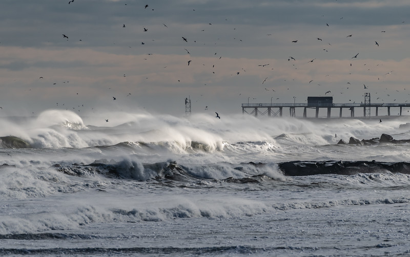 Rough Seas and Strong Winds Over Belmar Pier 01/20/19