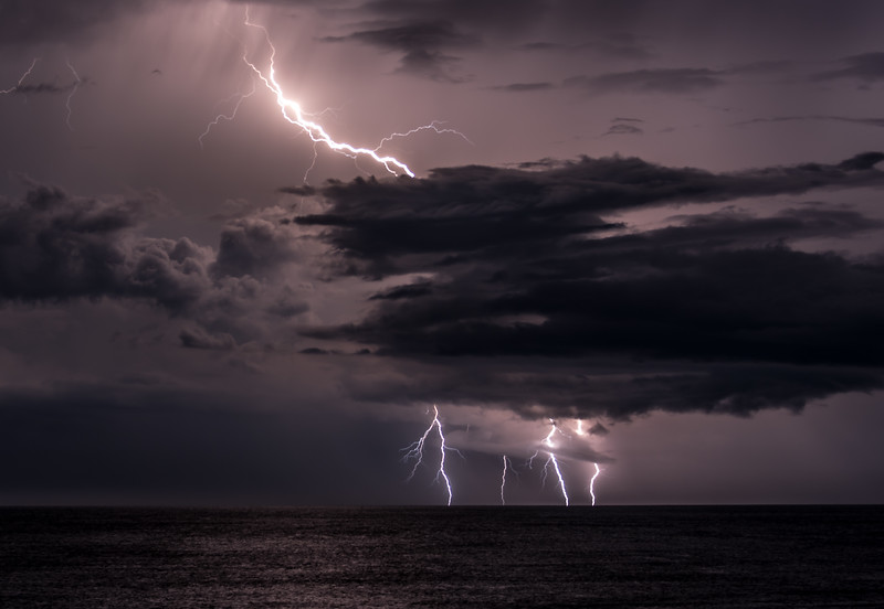 Lightning Strikes Over Ocean 8/18/18